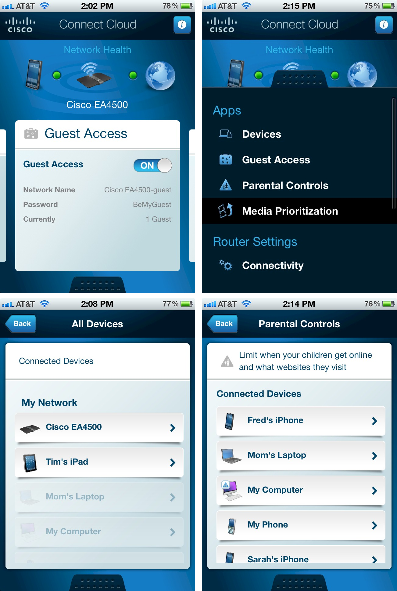 Cisco Connect Cloud iOS app screenshots