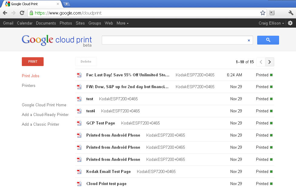 Landing page for Google cloud print showing my recently printed documents
