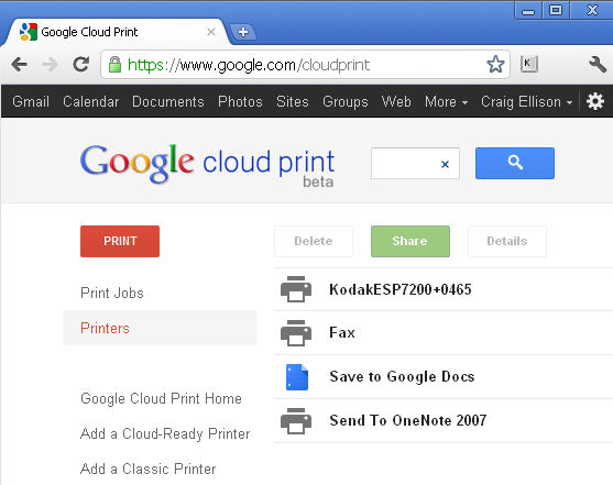 Google cloud print devices associated with my account