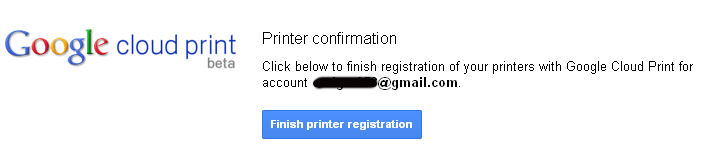 Finish Google Printer registration