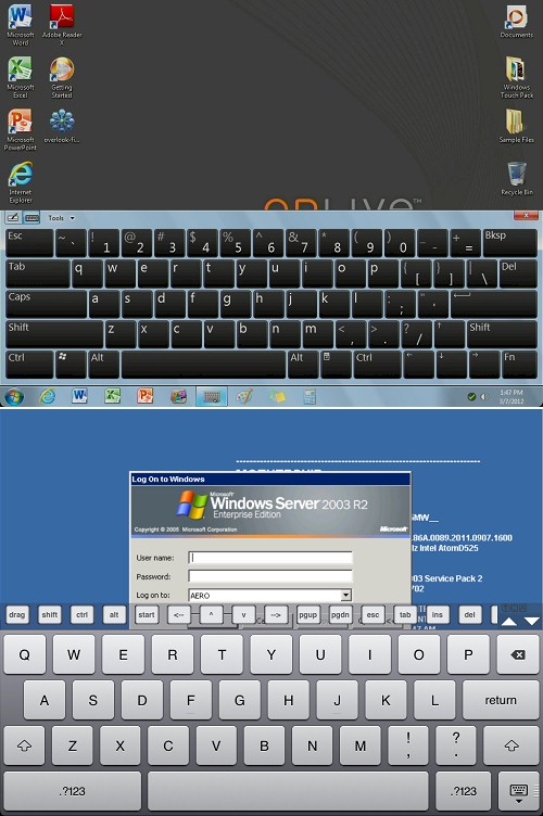 OnLive Desktop keyboard comparison to tablet keyboard