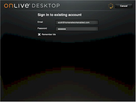 OnLive Desktop login screen