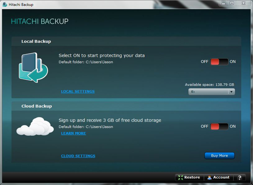 Local and cloud backup options