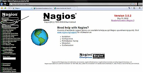 Nagios Home screen