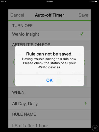 Error message while trying to create or edit a rule with the iOS application