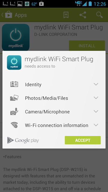 D-Link DSP-W215 Android Permissions Required