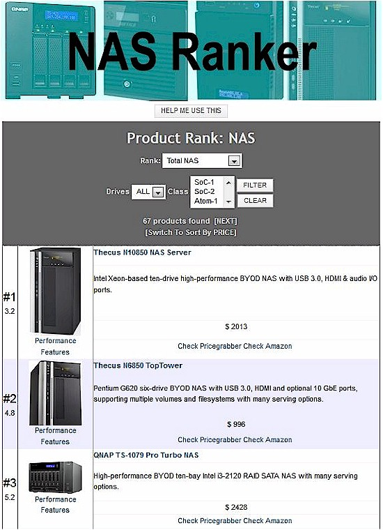 New NAS Ranker - Filtered- 2 drives