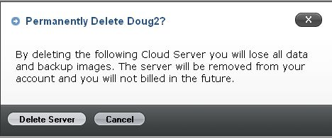 Deleting the cloud server