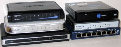 Six 8 port gigabit switches