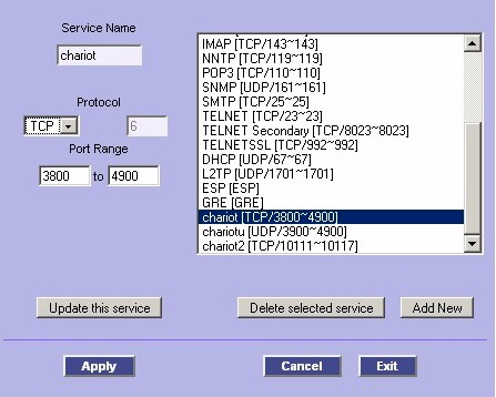 Service Management screen