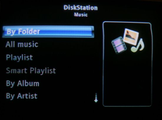 Play options for music found on the Synology DiskStation