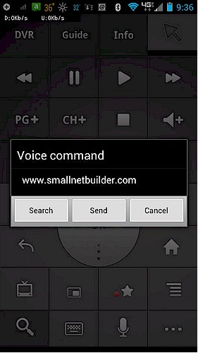 Google TV Remote Control app on an Android-based phone