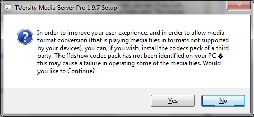 TVersity codec pack warning
