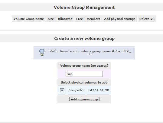 Openfiler Create Volume Group
