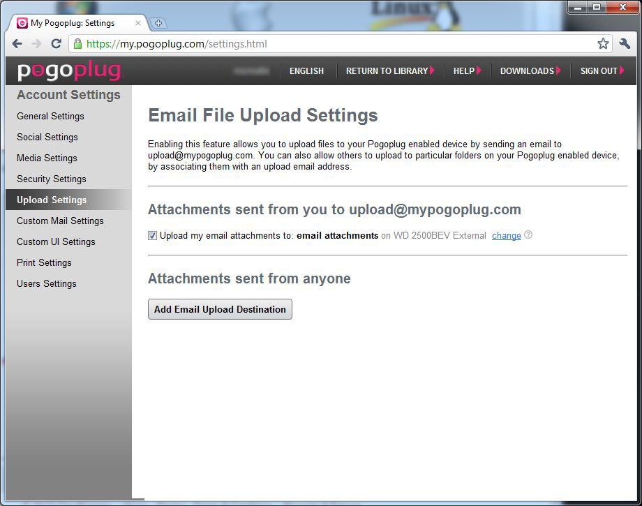 Email File Upload feature setting