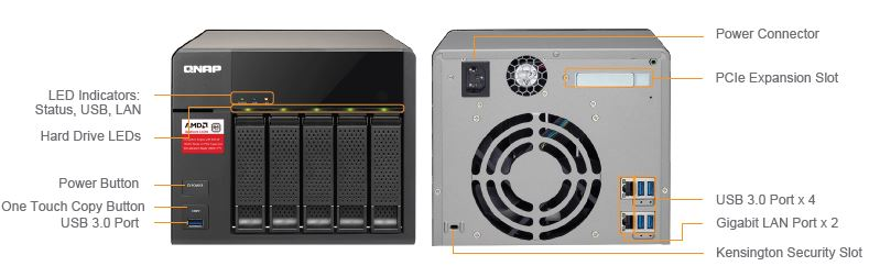 QNAP TS-563-8G front and rear panel callouts