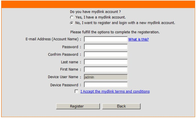 DIR-605L built-in mydlink registration