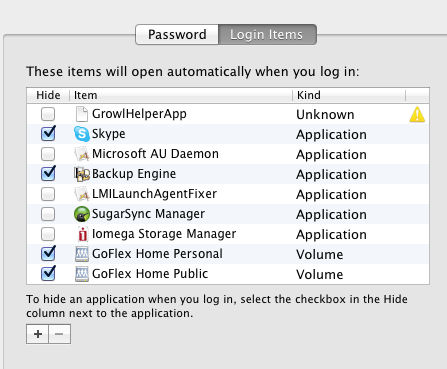 Login Items in System Preferences