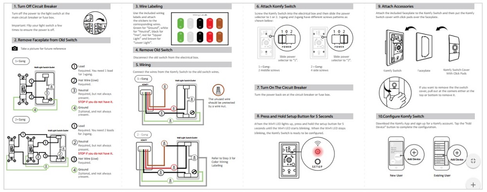 Komfy wiring instructions in the QuickStart guide