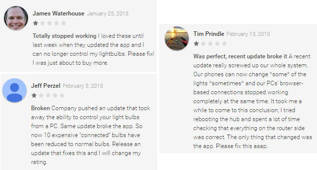 Google Play Store reader comments on the latest TCPI firmware upgrade