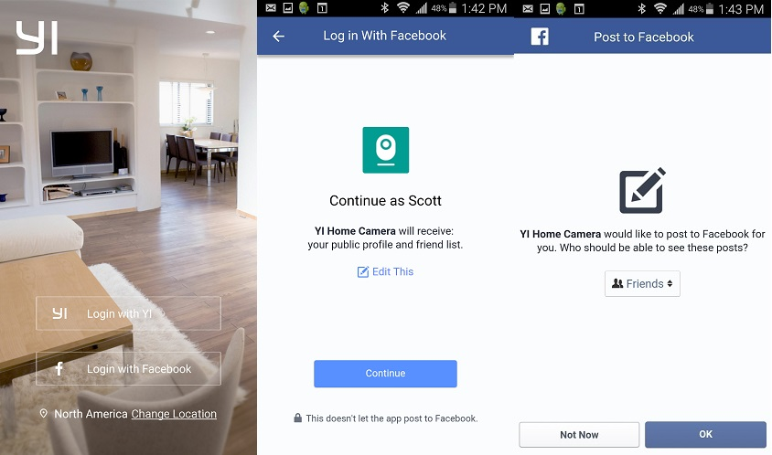 Yi Home app looking for Facebook post permission