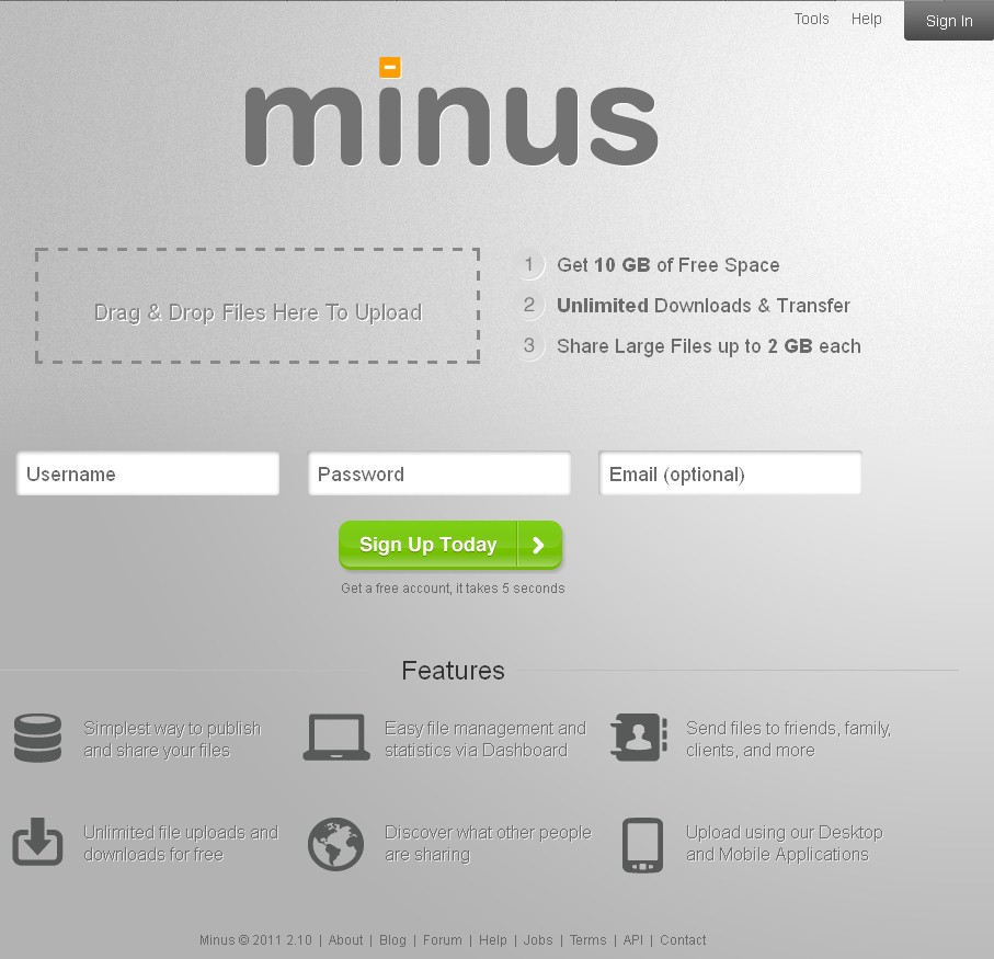 Minus home page