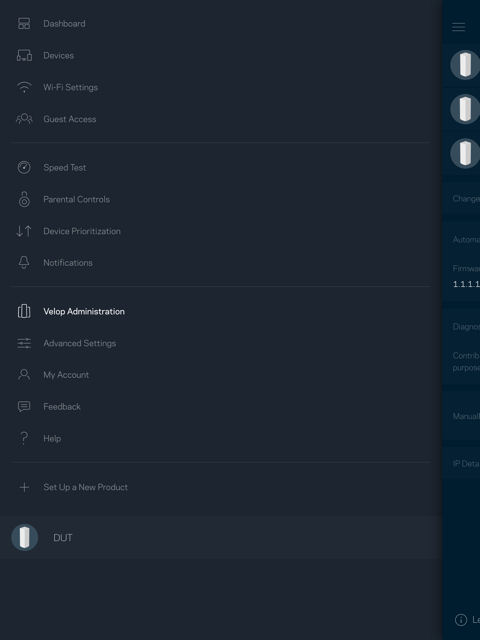 Linksys Velop Menu