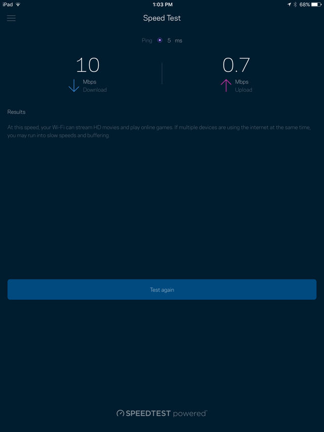 Linksys Velop Speedtest
