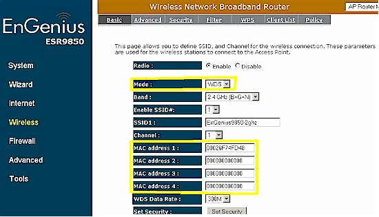 ESR9850 wireless settings for WDS mode