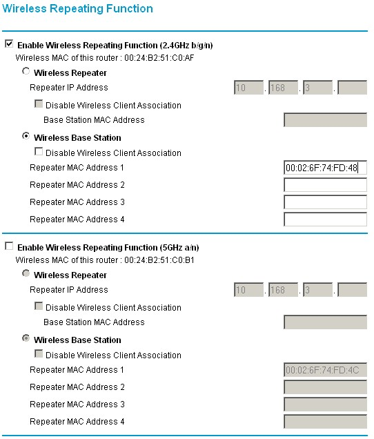 WNDR3700 wireless settings for WDS link to  ESR7750 2.4 GHz radio