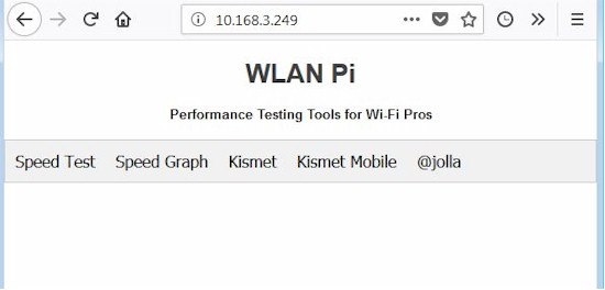 WLAN Pi Home screen