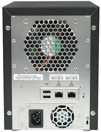 The back of the SS4000E includes a large cooling fan for the hard disks on top, with a smaller fan at the bottom for the power supply. In between, you'll find the ports and connectors.