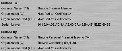 Figure 6: An S/MIME certificate issued by Thawte and viewed in Mozilla Firefox. (Click to enlarge)