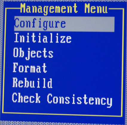 Figure 9: MegaRAID Management menu