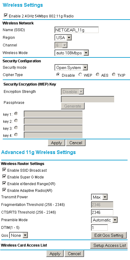 Netgear WGU624 wireless settings