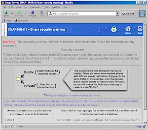 Snap Server 1100 - Share security warning screen
