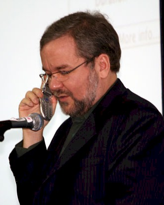 Phil Zimmermann talks on his cellphone