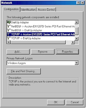 Figure 1: Win98SE TCP/IP properties