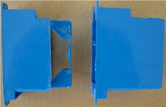 Modified (left) and unmodified plastic duplex wall box