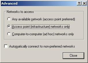 XP Advanced Wireless Network Properties