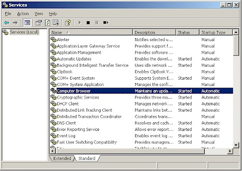 Browse service in WinXP